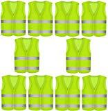 10 Stück Warnweste Pannenweste Warnwesten Set für Auto Neon Gelb | Knitterfrei | Waschbar |360 Grad Reflektierende Schutz Weste KFZ EN471 Prowiste®
