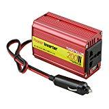 ESFIVR200 200W Spannungswandler Wechselrichter DC 12V auf AC 220V Inverter mit Universal AC Sockel; inkl. Kfz Zigarettenanzünder Stecker,Rot