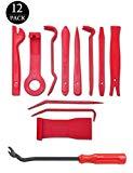 445Pcs Befestigung Clips, Car Body Trim Clips Universal Türverkleidung Klammern Stoßstangen Push Pin Nieten Clip Set mit Reparatur Werkzeug 23cm Lösewerkzeug Schwarz (12 Stück Zierleistenkeile-Set)