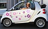 XL MIXED SET HIBISKUS Blüten Autoaufkleber selbstklebend ~Pink Miss~, 16 Stück Blumen bunte Sticker Outdoor, Wandtattoo & Fensterbild in 4 Farben, pink, rosa, lila, flieder